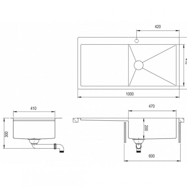 Мойка для кухни Aquasanita Luna LUN-101M-R