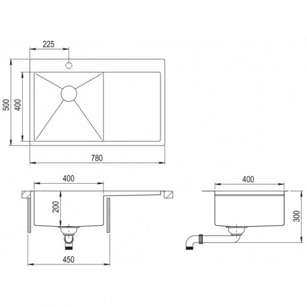 Мойка для кухни Aquasanita Luna LUN-101N-L