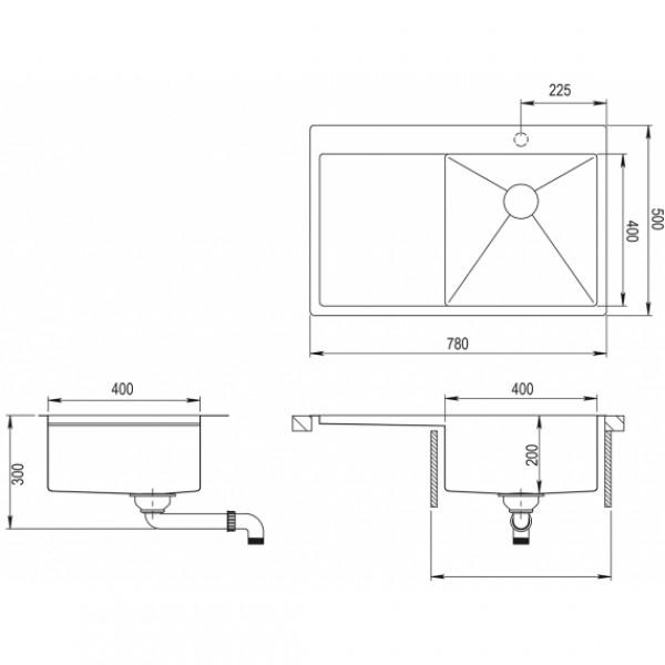 Мойка для кухни Aquasanita Luna LUN-101N-R