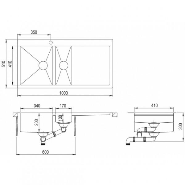 Мойка для кухни Aquasanita Luna LUN-151M-L