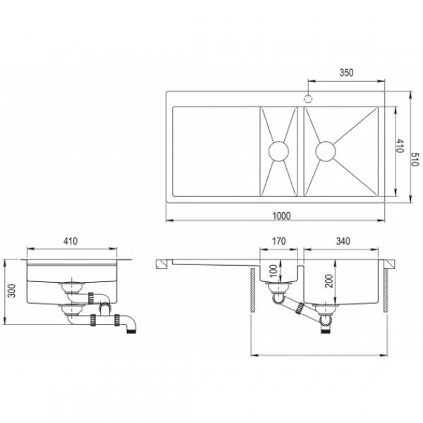 Мойка для кухни Aquasanita Luna LUN-151M-R