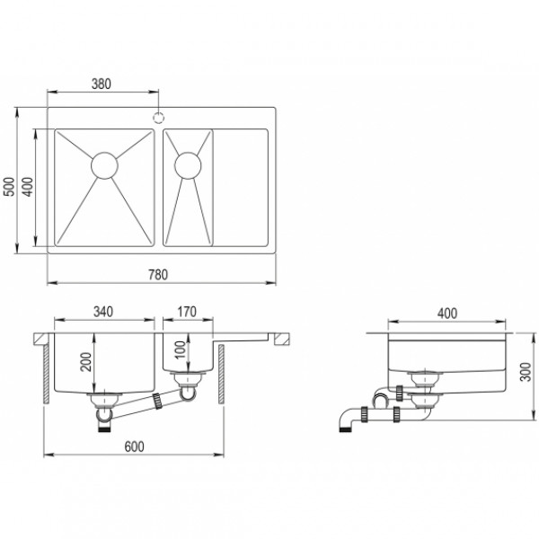 Мойка для кухни Aquasanita Luna LUN-151N-L