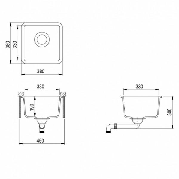 Мойка для кухни гранитная Aquasanita Arca SQA-100W-120