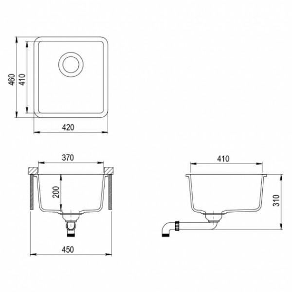 Мойка для кухни гранитная Aquasanita Arca SQA-101W-202