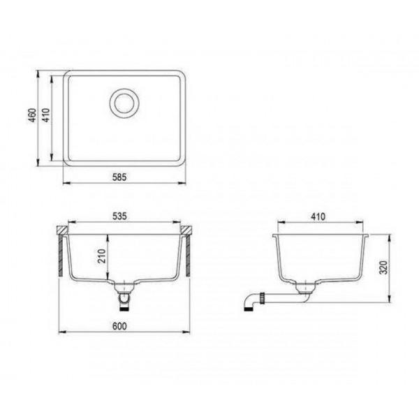 Мойка для кухни гранитная Aquasanita Arca SQA-102W-120