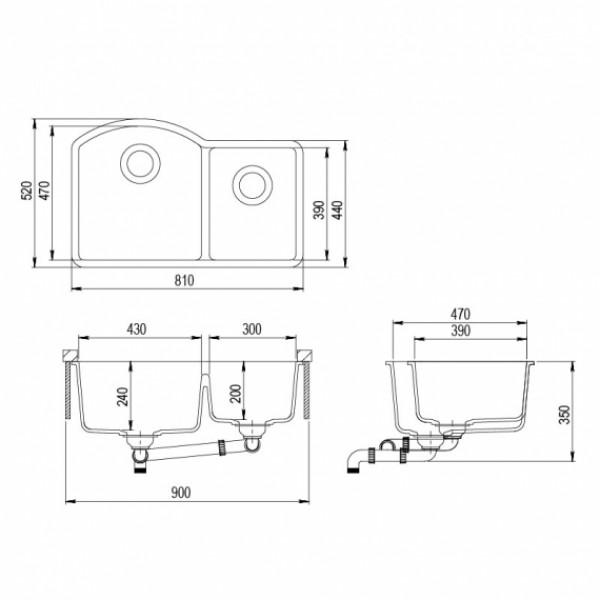 Мойка для кухни гранитная Aquasanita Arca SQA-220W-120
