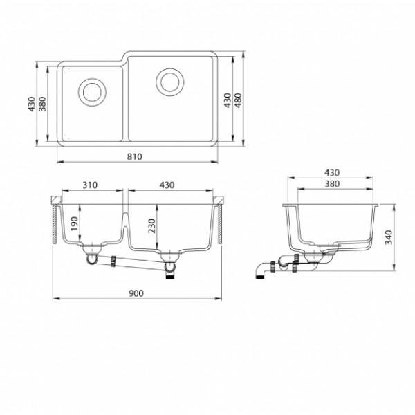 Мойка для кухни гранитная Aquasanita Arca SQA-230R-710W