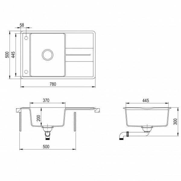 Мойка для кухни гранитная Aquasanita Bella SQB-101AW-501