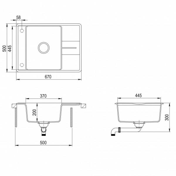 Мойка для кухни гранитная Aquasanita Bella SQB-102AW-301
