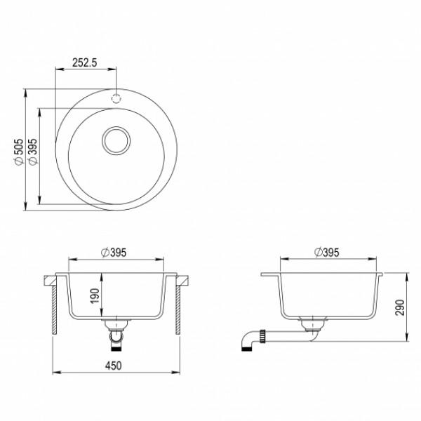 Мойка для кухни гранитная Aquasanita Clarus SR-100W-601
