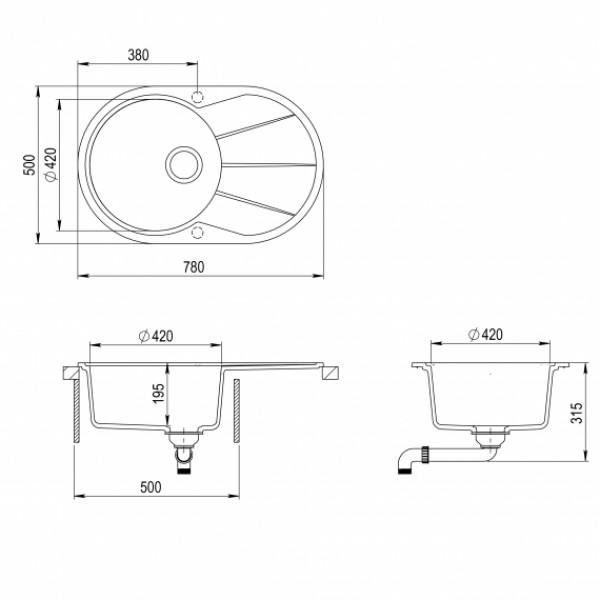 Мойка для кухни гранитная Aquasanita Clarus SR-101AW-112