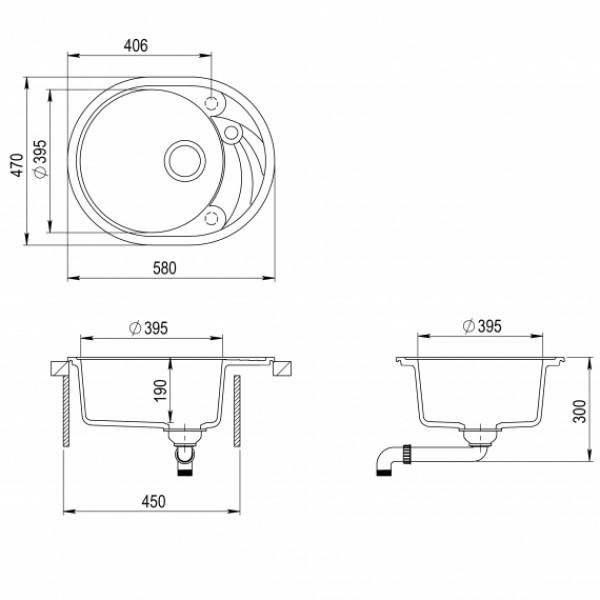 Мойка для кухни гранитная Aquasanita Clarus SR-102AW-710