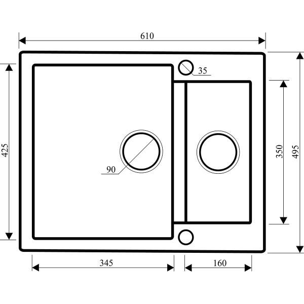 Мойка для кухни гранитная Aquasanita Cuba SQC-150AW-111