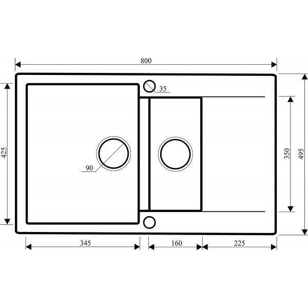 Мойка для кухни гранитная Aquasanita Cuba SQC-151AW-112