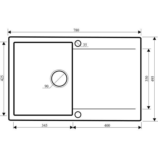 Мойка для кухни гранитная Aquasanita Cubus SQC-101AW-202