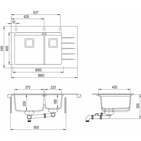 Мойка для кухни гранитная Aquasanita Delicia Plus GQD-150AW-B-601