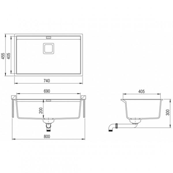 Мойка для кухни гранитная Aquasanita Delicia SQD-101AW-202