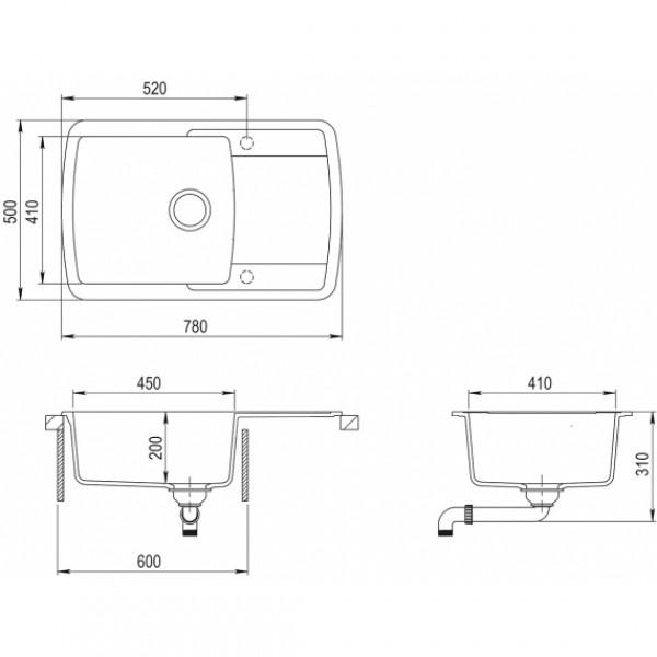 Мойка для кухни гранитная Aquasanita Lira SQL-101AW-120