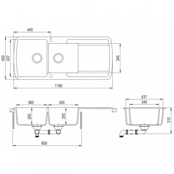 Мойка для кухни гранитная Aquasanita Lira SQL-201AW-112