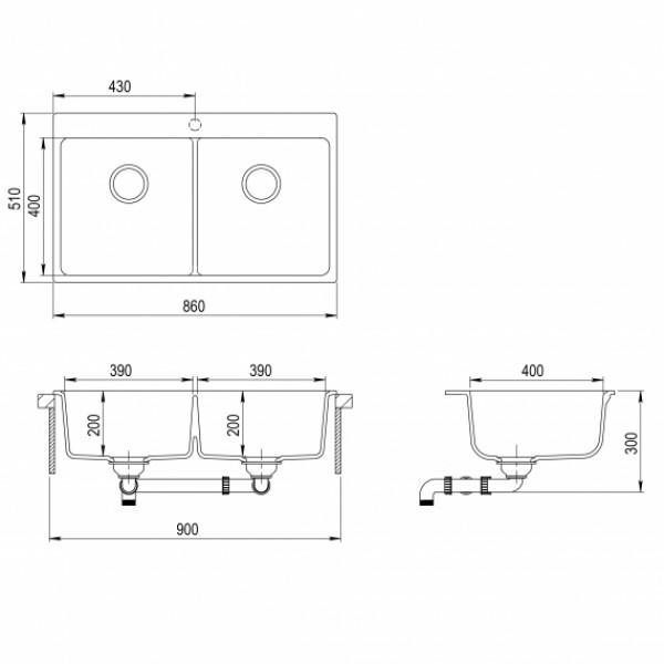 Мойка для кухни гранитная Aquasanita Magna SQM-200AW-202