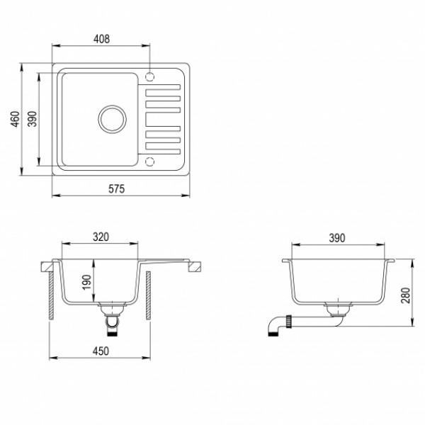 Мойка для кухни гранитная Aquasanita Notus SQ-102AW-120