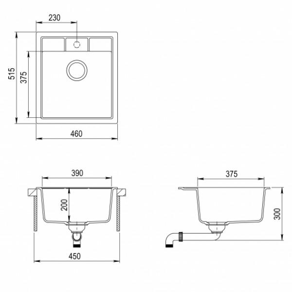 Мойка для кухни гранитная Aquasanita Nova SQN-100W-112