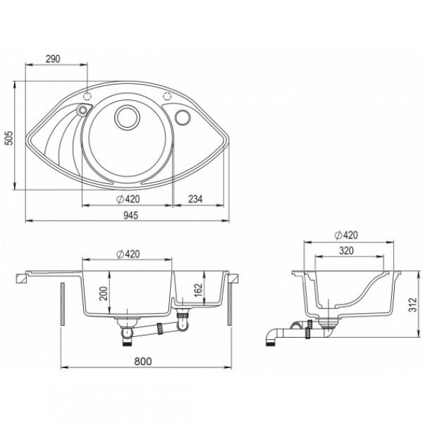 Мойка для кухни гранитная Aquasanita Papillon SCP-151AW-111