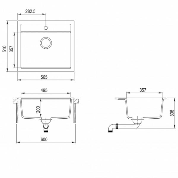 Мойка для кухни гранитная Aquasanita Quadro SQQ-100W-112