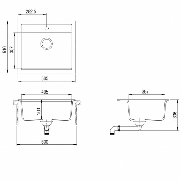 Мойка для кухни гранитная Aquasanita Quadro SQQ-100W-202