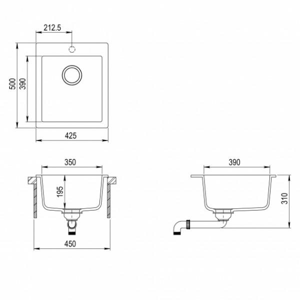Мойка для кухни гранитная Aquasanita Simplex SQS-100W-501