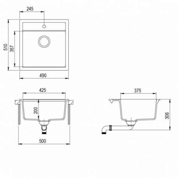 Мойка для кухни гранитная Aquasanita Tesa SQT 100W-120
