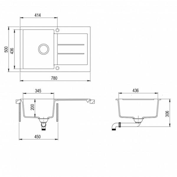 Мойка для кухни гранитная Aquasanita Tesa SQT-101AW-220
