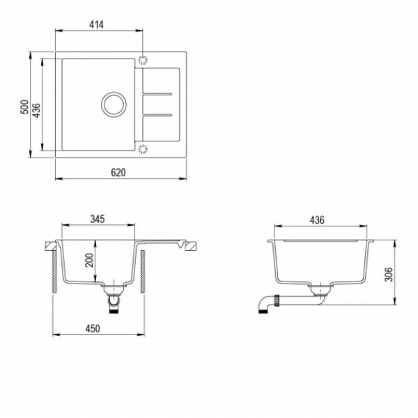 Мойка для кухни гранитная Aquasanita Tesa SQT-102AW-202