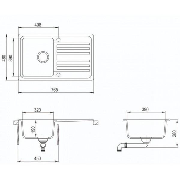 Мойка для кухни гранитная Aquasanita Volta SQ-101AW-202