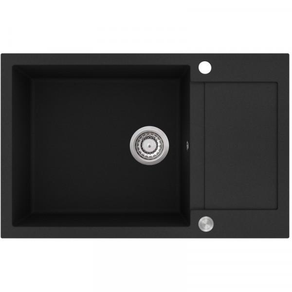 Мойка для кухни гранитная черная AquaSanita TESA SQT-104-601