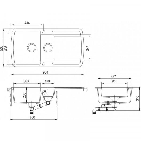 Мойка для кухни гранитная серая AquaSanita LIRA SQL-151-220