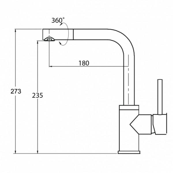 Смеситель для кухни Aquasanita Forte 5553-601