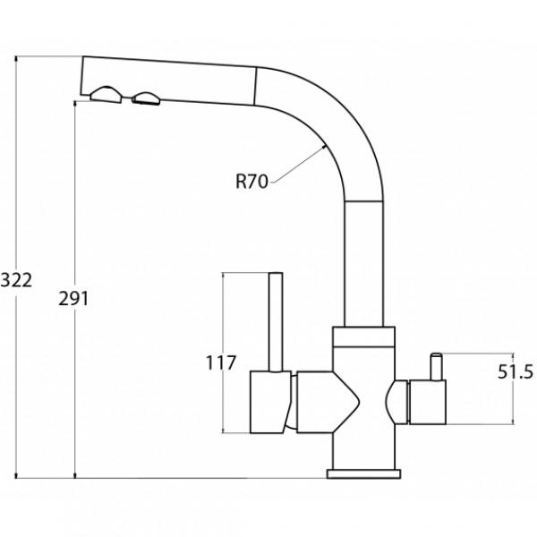 Смеситель для кухни на две воды Aquasanita Akvaduo 2663-601