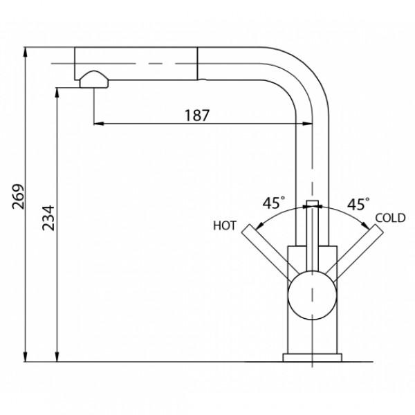 Смеситель для кухни с выдвижным изливом Aquasanita Modus 2383-601
