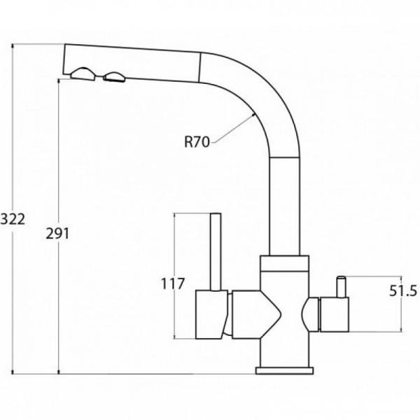 Смеситель кухонный на две воды AquaSanita Akvaduo 2663-120 коричневый