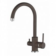 Смеситель кухонный на две воды AquaSanita Sabiaduo 2963-120 коричневый
