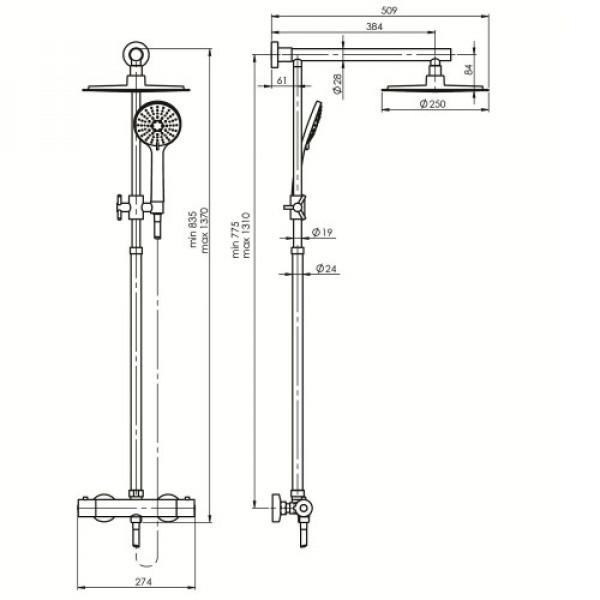 Душевая колонна со смесителем Rubineta Etna + Thermo 15 625028