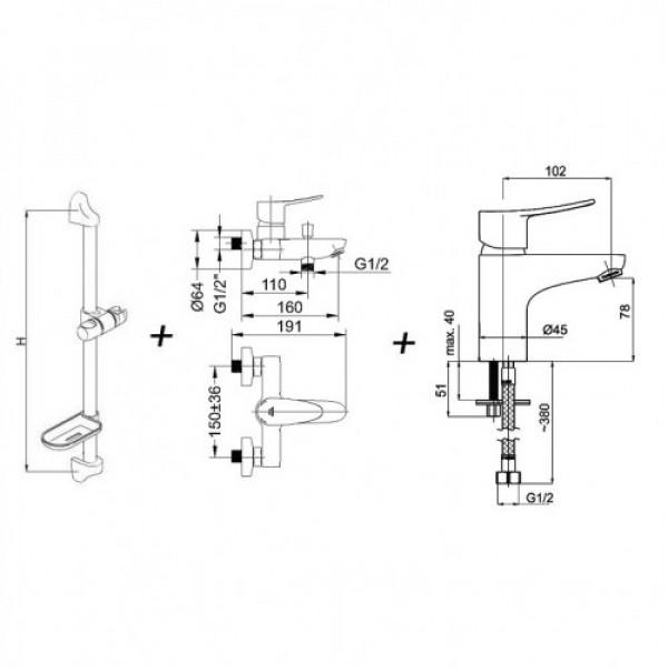 Набор для душа Rubineta Static 10 + Static 18 + Accord Aqua Superflex WT 625003