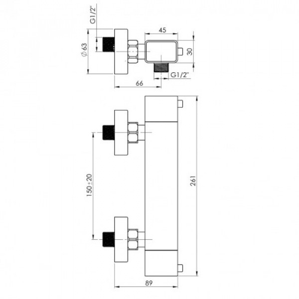 Настенный душевой смеситель Rubineta Thermo Square H2S0008