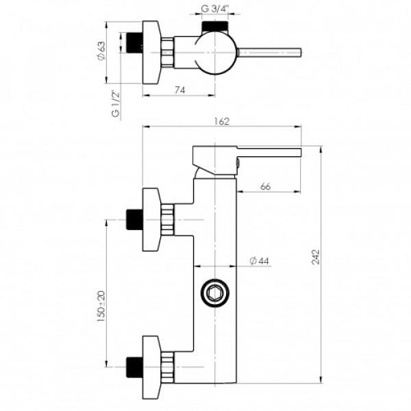 Настенный душевой смеситель Rubineta Ultra UD15008