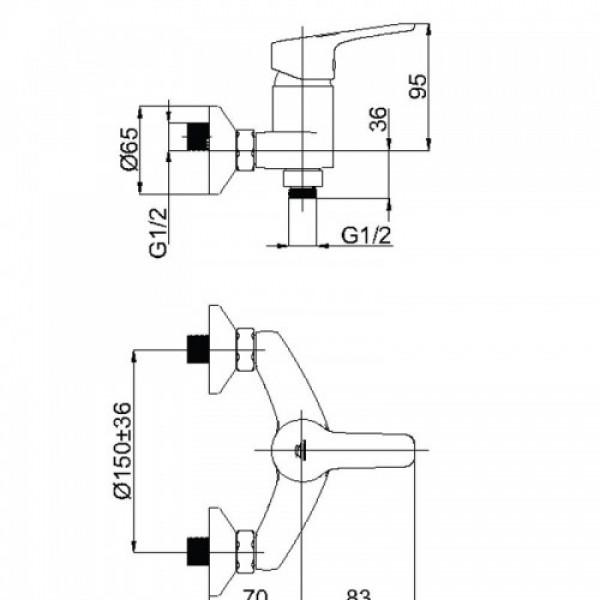 Настенный душевой смеситель Rubineta Uno 12 WT N20071