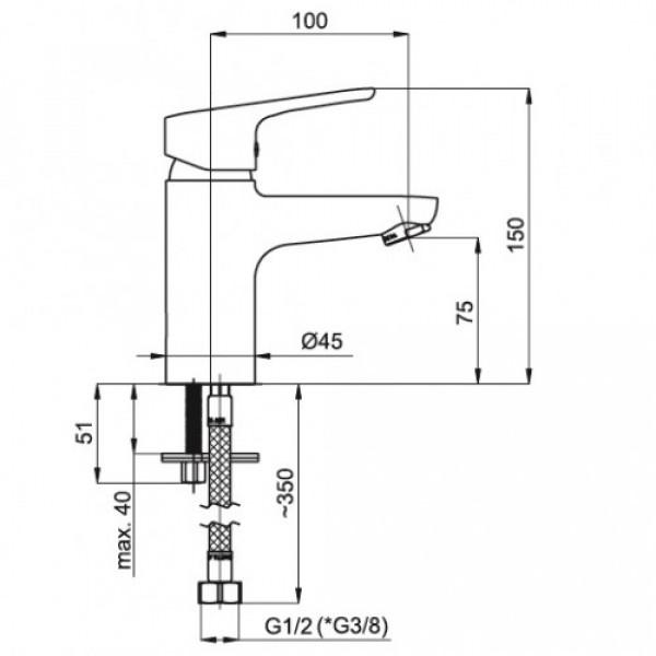 Смеситель для раковины Rubineta Uno 18 BK N80061