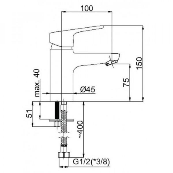Смеситель для раковины Rubineta Uno 18 WT N80071