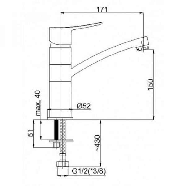 Смеситель для умывальника RUBINETA STATIC A90008