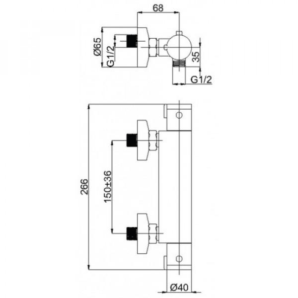 Смеситель с гарнитуром RUBINETA THERMO H20L08
